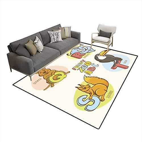 Kids Carpet Playmat Rug Funny Zoo Animals Kid s Alphabet Hand Drawn Ink Colorful Style 6'x9' (W180cm x L270cm