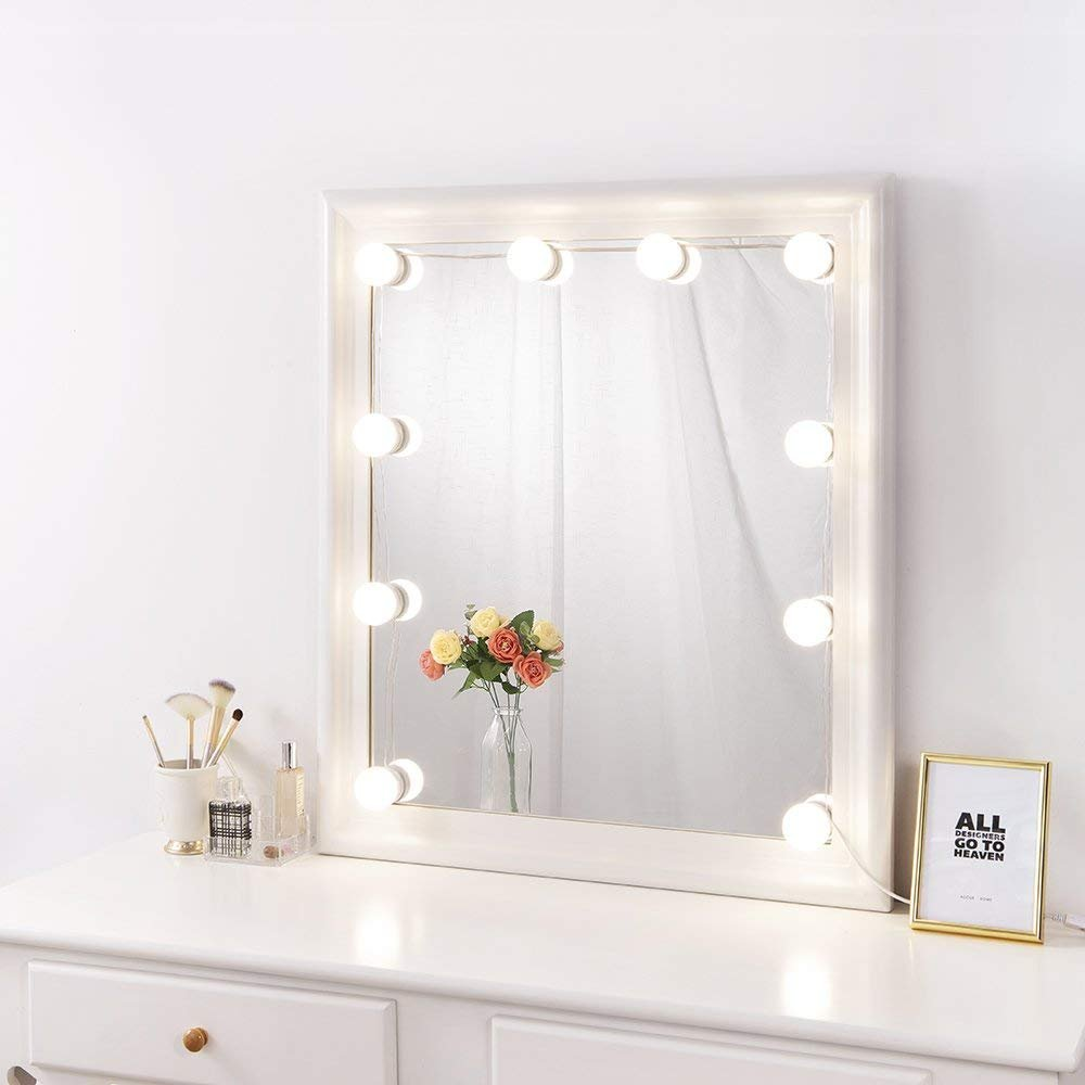 Nitin Hollywood Style LED Vanity Mirror Lights Kit, 3 Colors Lights Kit With Dimmer, Table Set in Dressing Room(Mirror Not Included)
