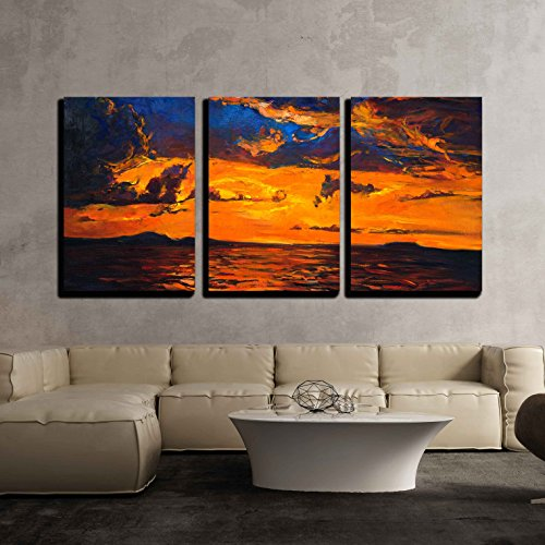 vas Wall Art - Original Oil Painting of Ocean and Cliffs on Canvas.Rich Golden Sunset over Ocean - Modern Home Decor Stretched and Framed Ready to Hang - 16