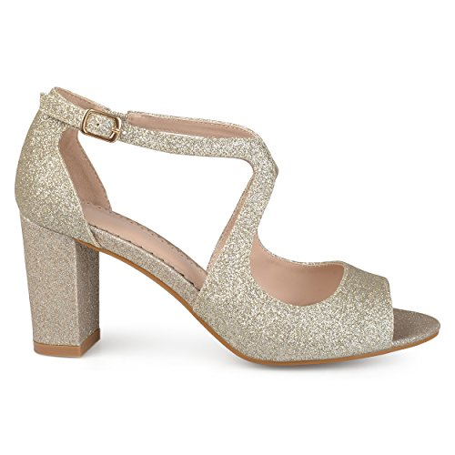 Brinley Co Womens Ayvie Glitter INTERSECTING Straps Block Heel Open Toe Heels Gold PD2TY5uD