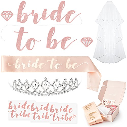 Rose Gold Pink Bachelorette Party Decorations Kit - Bridal Shower Supplies | Bride to Be Sash, Rhinestone Tiara, Pre-Strung Banner, Veil + Bride Tribe Flash Tattoos (Bachelorette Tiara And Sash)