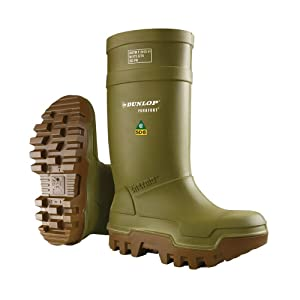 Dunlop E66284307 Purofort Thermo+ Full Safety Omega/EH Cold Protection Boot, Premium Insole, -58°F Cold Insulation, Steel Toe Cap, Green/Brown, Men Size 7/Women Size 9