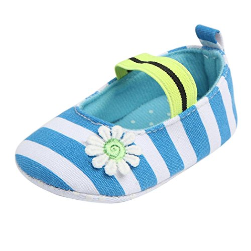 Babyschuhe Longra Baby Stripe Blume Krippeschuhe Soft Sole Kids Mädchen Leinwand Schuhe Baby Anti-Rutsch Lauflernschuhe(0 ~ 12 Monate) Blue