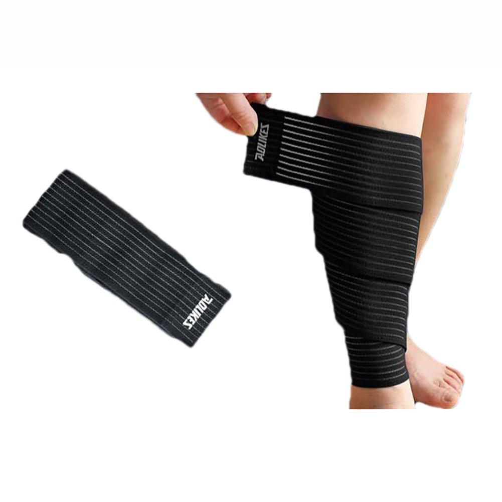 高弾性膝パッドナイロンエルボ脚バンデージ万能スポーツ安全テープ  ブラック B077YQXTCQ