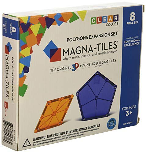 Magna-Tiles 8-Piece Polygons Expansion Set – The Original, Award-Winning Magnetic Building Tiles – Creativity and Educational – STEM Approved ()