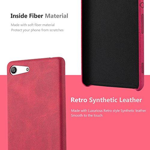Cadorabo - Retro Hard Cover Slim Case De Cuero Artificial Protección Sony Xperia M5 - Cover Funda Protectora Carcasa Dura Hard Case en NEGRO-VINTAGE ROJO-VINTAGE