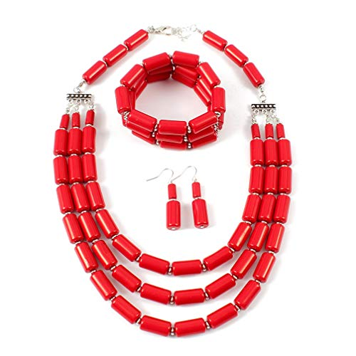- Lanue Fashion Handmade Bead Multilayer Statement Necklace Bracelet Earrings Jewelry Set (Red)