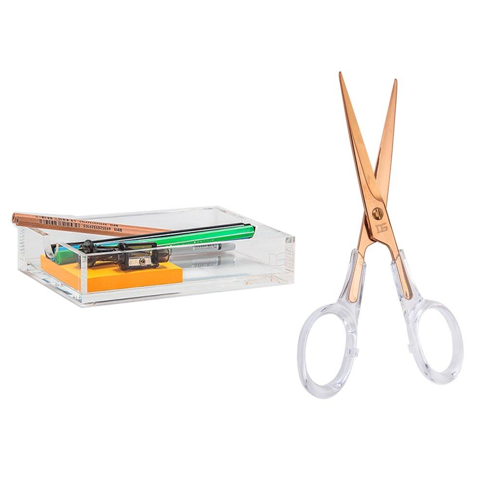 Acrylic Desktop Stationery Bundle by Draymond Story 1) Memo Holder 1) Scissors