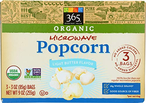 365 Everyday Value, Organic Microwave Popcorn, Light Butter Flavor, 3 oz, 3 pack