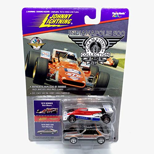 (Johnny Lightning 1979 Rick Mears & Ford Mustang Pace Car (Silver) Indianapolis 500 Champions Series 2 1996 Playing Mantis 1:64 Scale Authentic Replicas of Famous Indy Winners Die Cast Vehicle 2-Pack)