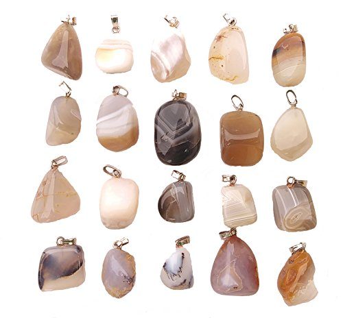 ThrowinStones GemMaster 20 Piece Tumbled White and Black Banded Agate Stone Natural Gemstone - Agate Pendant Banded