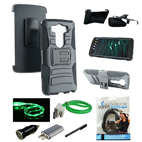Vista Combo - Mstechcorp - Defender Rugged Impact Armor Hybrid Kickstand Cover with Belt Clip Holster Case For LG G Vista VS880 (Verizon / AT&T) - Includes [Wall Charger Data Cable] + [Car Charger Data Cable] + [Touch Screen Stylus] + [2 Data Cables] + [Hands Free Earphone] (H GREEN)
