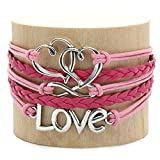 Leather Multilayer Bracelet I Trendy Leather Wrap Charm Bracelet | Genuine Leather Bracelet for Teenage Girls & Young Women. Vintage Rope Multilayer Bracelet with Stainless Steel Charms.