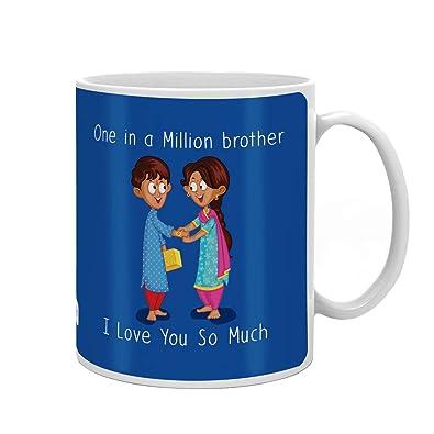 Indi ts Rakshabandhan Gifts I Love You So Much Bhaiya Quote Printed Gift Set Mug 330 Ml Crystal Rakhi Roli & Greeting Card
