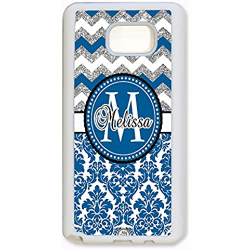 ArtsyCase Navy Damask Silver Chevron Monogram Personalized Name Phone Case - Samsung Galaxy S7 Edge (White) Sales