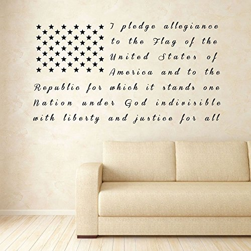 Large American Flag Wall Art Patriotic Vinyl Decal with Pledge of Allegiance Lettering for Living Room or Bedroom, Office, or Classroom - Available in Red, White, Blue, Other Bright -