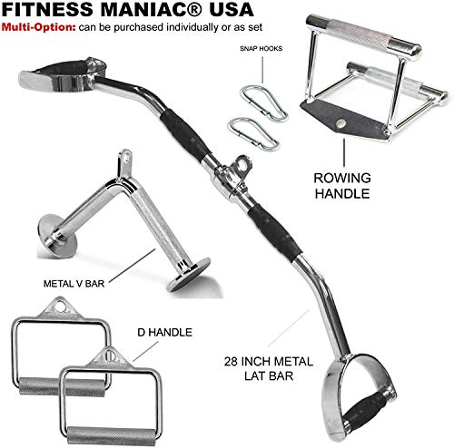 FITNESS MANIAC USA Home Gym Cable Attachment Handle Machine Exercise Chrome PressDown Pull Down Strength Training Home…