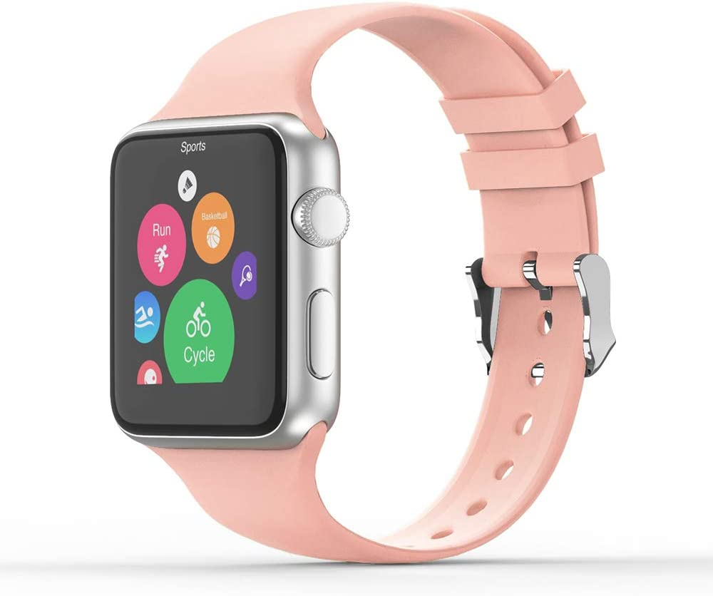 Vinyl Etchings Sport Band Compatible with Apple Watch 38/40mm 42/44mm for Women/Men,Waterproof Bands Replacement Strap Accessory for iWatch Apple Watch Series 6/5/4/3/2/1 (42/44mm S/M, Grapefruit)