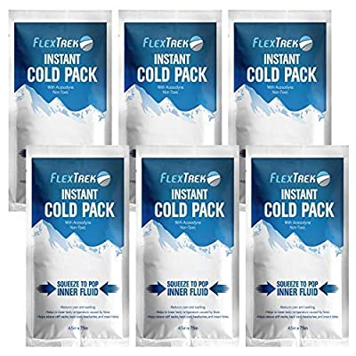 Disposable Instant Cold Pack (6-Pack) - Emergency Breakable First Aid Kit Content for Body Injuries - Perfect for Sports, Camping, Vacation, Athletes, Fitness Trainers - 4.5 x 7.5 inches.