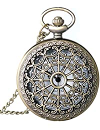 Spider Web Hollow Vintage Quartz Steampunk Pocket Watch, Bronze Steel Men Womens Watch with 14'' Chain for Xmas Fathers Day Gift
