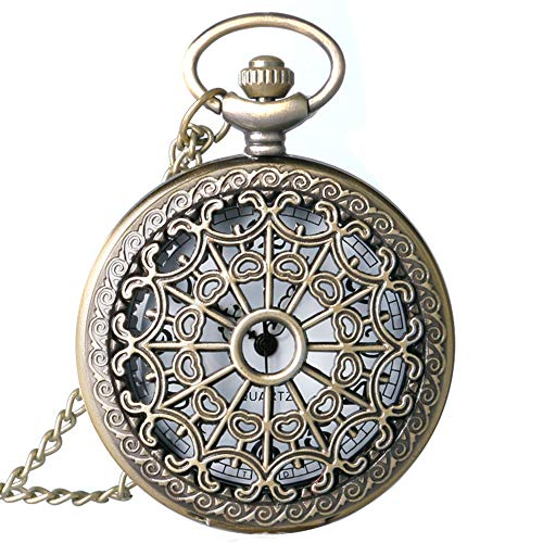 LYMFHCH Spider Web Hollow Vintage Quartz Steampunk Pocket Watch, Bronze Steel Men Womens Watch with 14'' Chain for Xmas Fathers Day Gift