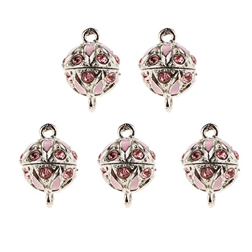 Magnetic Enamel (Dolity 5pcs Rhinestone Enamel Round Ball Magnetic Connector Clasp for Jewelry Craft - Pink)