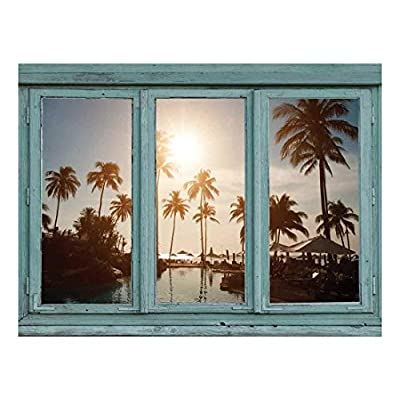 Wall26 - Island Resort Pool Complete with Palm Trees and Setting Sun - Wall Mural, Removable Sticker, Home Decor - 24x32 inches