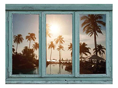 Palm Tree Resort - wall26 - Island Resort Pool Complete with Palm Trees and Setting Sun - Wall Mural, Removable Sticker, Home Decor - 36x48 inches