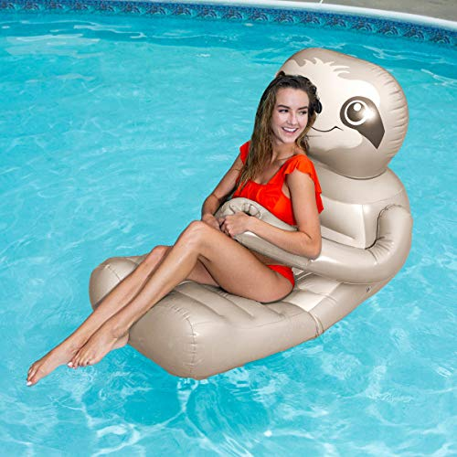 SwimWays Huggables Sloth Oversized Float - Inflatable Lounge with Cupholder for Pool or Lake