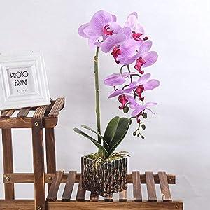 LOUHO Artificial Phaleanopsis Arrangement with Vase Decorative Orchid Flower Bonsai 51