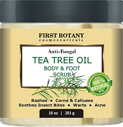 - 100% Natural Anti Fungal Tea Tree Oil Body & Foot Scrub with Dead Sea Salt - Best for Acne, Dandruff and Warts, Helps with Corns, Calluses, Athlete foot, Jock Itch & Body Odor