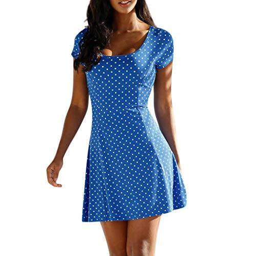 Women Summer Casual Short Sleeve Mini Dress Bohemian Boho Polka Dot Dress Square Neck Party Dress by Lowprofile Blue for $<!--$7.99-->