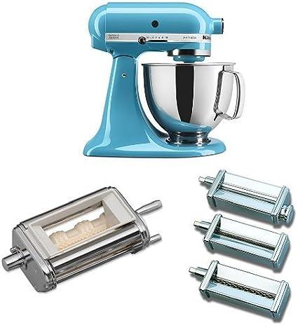 KitchenAid KICA0WH Ice Cream Maker Attachment Bundle KitchenAid KSM150PSBW Artisan 5-Quart Stand Mixer Blue Willow