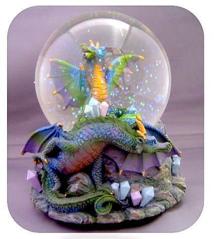 Purple Snowglobe - Dragon Guarding Crystals. Green/Gold/Purple Snow Globe - Sculptured Resin Water Ball Music Box 5 3/4 High