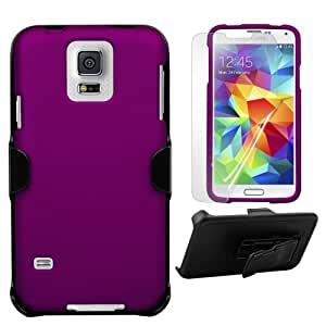 Durable protection 3 in 1 Combo Hard Case+Holster+Screen Protector Hard Slim Fit Light Rubber Coating Rubberized Case and Holster Belt Clip with FREE Screen Protector for Samsung Galaxy S5 i9600 - Purple - Retail Packaging