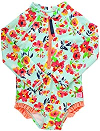 RuffleButts Little Girls Long Sleeve One Piece Swimsuit - Painted Flowers with UPF 50+ Sun Protection - 4T