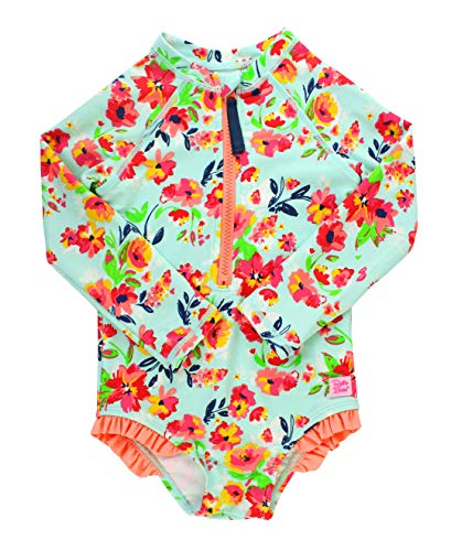 RuffleButts Little Girls Long Sleeve One Piece Swimsuit - Painted Flowers with UPF 50+ Sun Protection - 3T ()