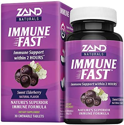 Zand Immune Fast Elderberry Chews Boosts Immune Response Cell Activity w EpiCor* Vitamin C, 30 Tablets, 10 Serv.