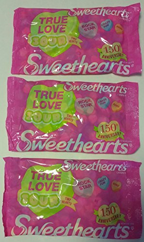 Sweethearts True Love Sour Tiny Hearts Candies 8oz Bags ,Case of 3 Bags