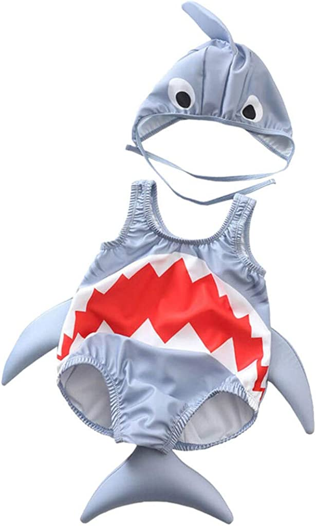 Toddler Unisex Girl Boy Cartoon Shark Swimwear Bikini Set Kids Novelty Swimsuit