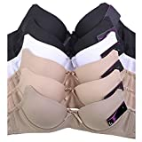 Uni Style Apparel Women Plain and Lace Bra - Set Of 6 (34A, 2Black, 2Beige, 1Taupe, 1White)