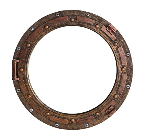 Ebros Gift Antique Bronze Rust Finish Nautical Marine Ship Porthole Wall Mirror Decor 15
