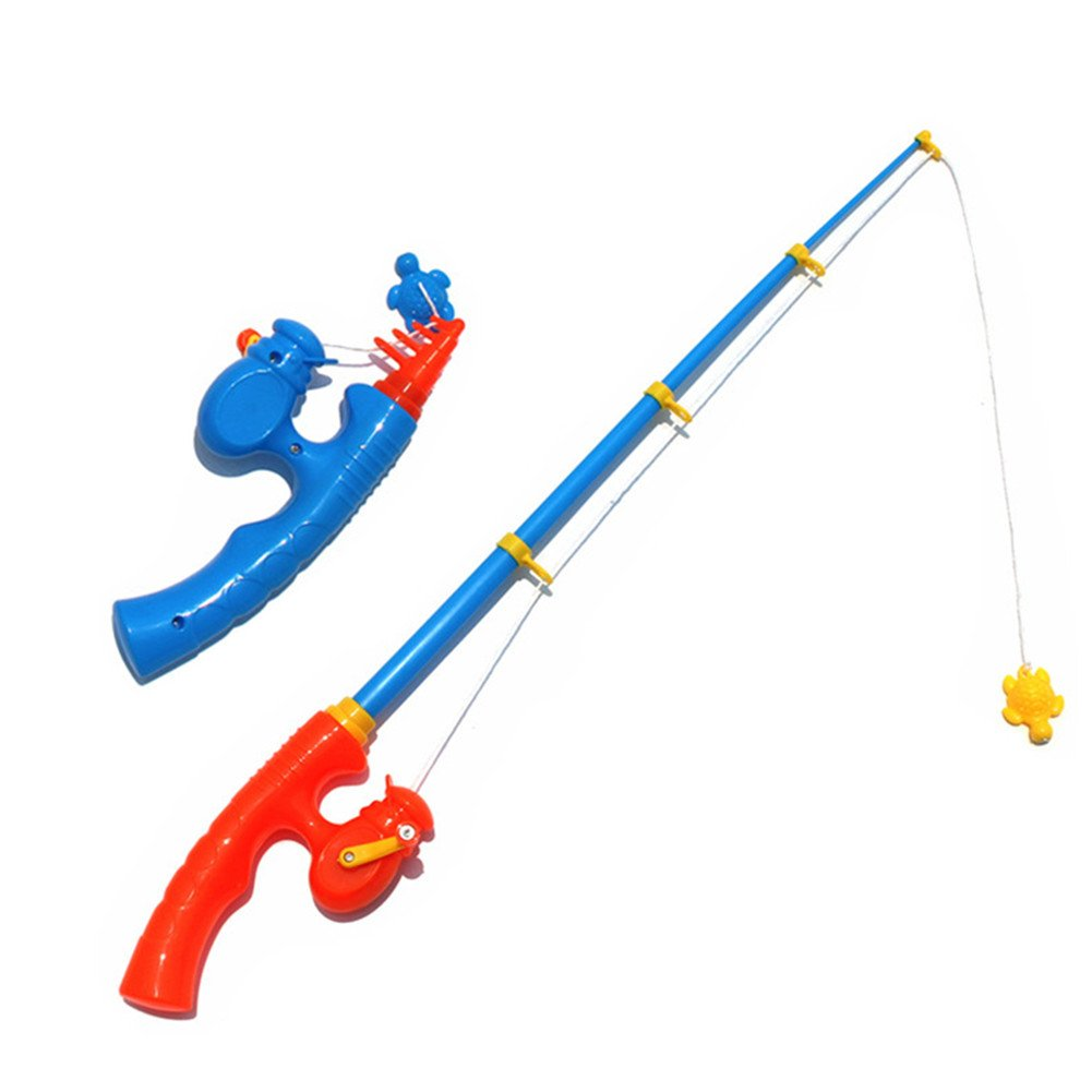 2 Pieces Durable Plastic Telescopic Fishing Rods Sturdy Portable Magnetic Fishing Poles for Toddlers Kids Fish Toys Accessories(56cm) SGKN