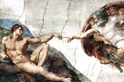 Michelangelo The Creation Adam Fresco Sistine Chapel Ceiling 1512 Biblical Narrative Poster 36x24 inch (Chapel Sistine Adam)
