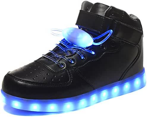 HOFISH Men's Light Up Shoes Women's Flashing Dance Sneakers with Free LED Shoelaces