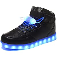 HOFISH Unisex LED High Top Light Up Shoes For Women Men Flashing Sneakers With 11 Lighting Patterns