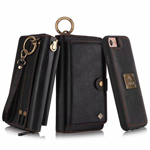 Petocase Compatible iPhone 8 Case/iPhone 7 Wallet Case, Multi-Function Zipper Purse with Detachable Magnetic Back Cover Wristlets 13 Card Slots & 4 Cash Pocket for Apple iPhone 8/7/6s/6, Black