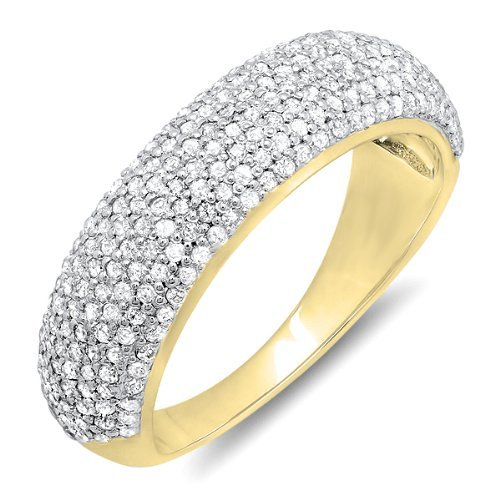 Dazzlingrock Collection 0.90 Carat (ctw) 18k Round Diamond Anniversary Wedding Band Ring, Yellow Gold, Size 6