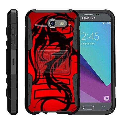 TurtleArmor | Samsung Galaxy J3 Emerge Case | J3 (2017) | Amp Prime 2 | Express Prime 2 [Hyper Shock] Hybrid Dual Layer Armor Holster Belt Clip Case Kickstand - Red Dragon