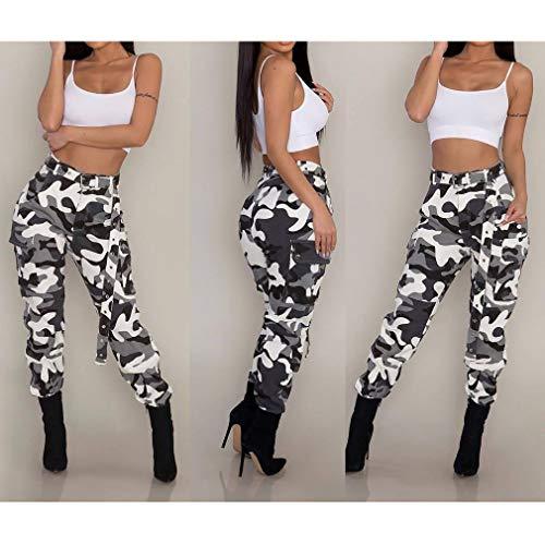Pantaloni Casuale Cinque Piedi Matita Leggings Larghi Moda Comodi A Wita Mimetici Con Colori Nero Media Donna Cintura Stretti PZdBqw